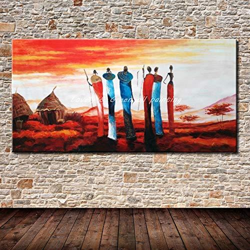 SUNFFFW 100% Pintado A Mano Cartel Pared Arte Lienzo Pintura Al Óleo Pinturas Abstractas Tribus Africanas Cuadros De Pared para Sala De Estar Decoración De La Pared
