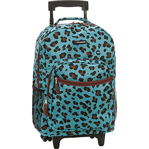 Rockland Luggage 17 Inch Rolling Backpack, Leopard Blue