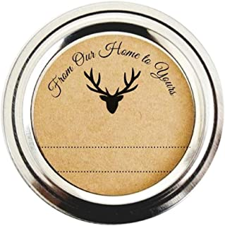 Rustic Woodland Deer Round Stickers by Once Upon Supplies, From Our Home to Yours Gift Labels, 2 Inches Size Fits Regular Mouth Mason Jars, 40 Stickers