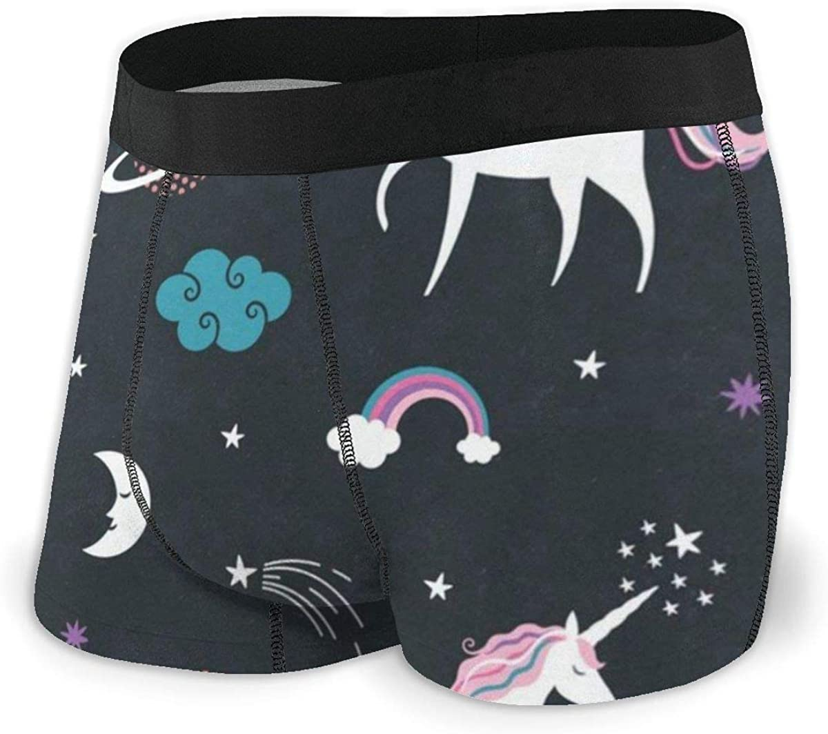 Mens Boxer Briefs Unicorn Solar System Breathable Underwear