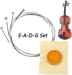 Cuerdas de violín, Conjunto Completo Universal (G-D-A-E), Núcleo de acero Níquel-plata Herida con Extremo de Bola Niquelado, con Colofonia Circular Soild, Aptas para Violines 4/4 3/4