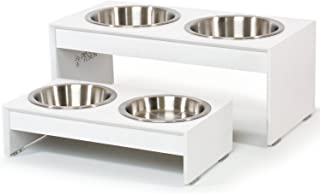 """PetFusion Elevated Dog Bowls, Cat Bowls (4"""", 8"""" Tall Options). Bamboo w/Water Resistant Seal. US Food Grade Stainless Stee..."""