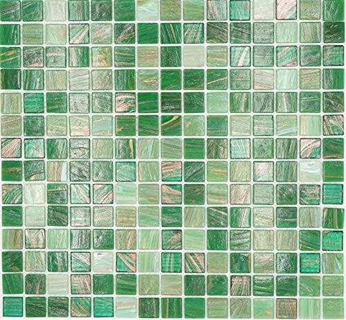 Mosaikfliese Glas Goldensilk grün Wandfliesen Badfliese Duschrückwand Fliesenspiegel MOS54-0504