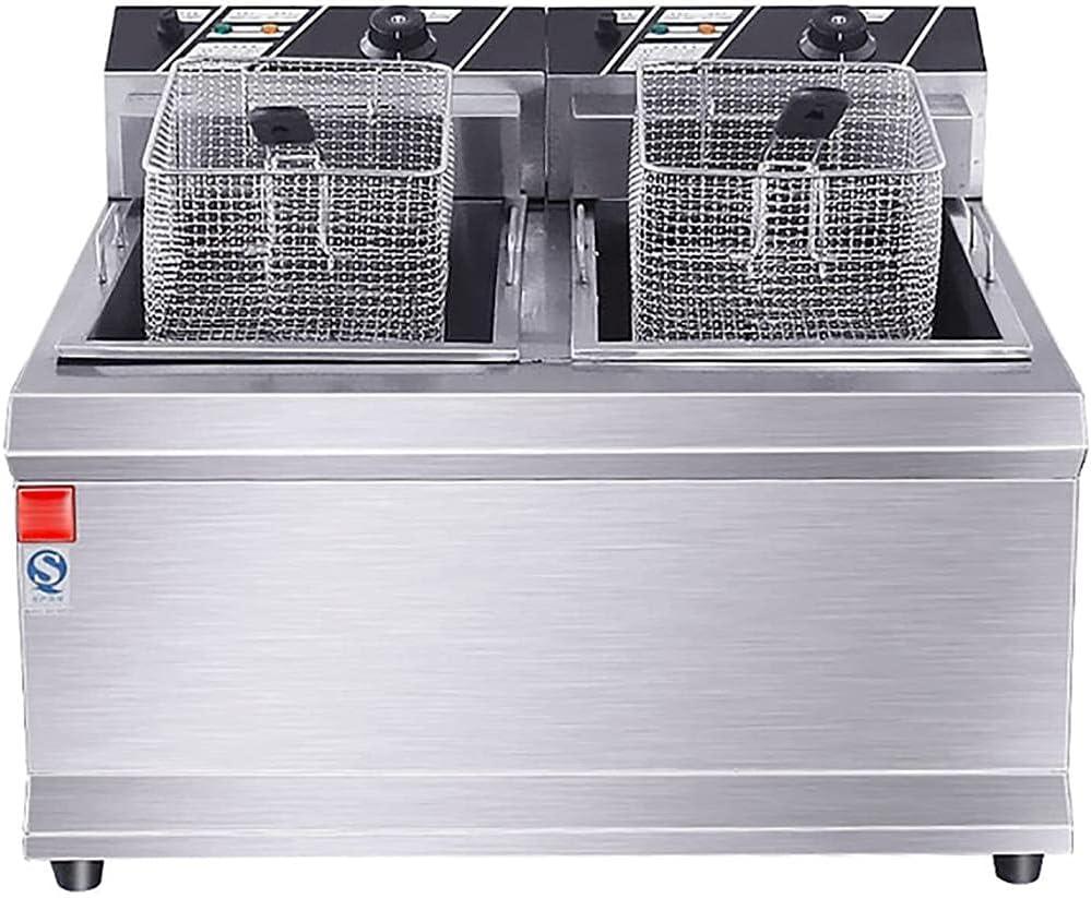 LUOQI Freidora Profunda Comercial Doble 12 5l Freidora eléctrica con Sistema de Filtro de Aceite con Control de Temperatura de Grasa Cesta de Acero Inoxidable extraíble para la Cocina de
