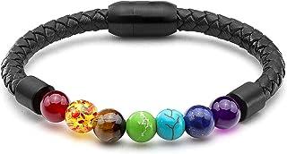 Zysta Personalized 7 Chakra/Tiger Eye/Lava/Agate/Turquoise Healing Beaded Bracelet Engraving Handmade Yoga Bead Customized Braided Leather Bead Bracelets