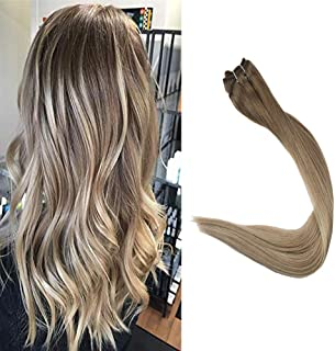 Full Shine Hair Bundle 16 inch Color #8 Ash Brown Fading to Blonde #60 and #18 Ash Blonde 100% Real Human Hair Extensions Balayage Color Remy Hair Weft 100g Per Set