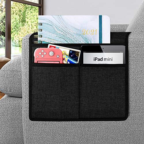 Joywell Sofa-Armlehnen-Organizer, Fernbedienungshalterung für Liegestuhl, Sessel-Caddy, mit 3 Taschen für Zeitschriften, Tablet, Telefon, iPad, Schwarz