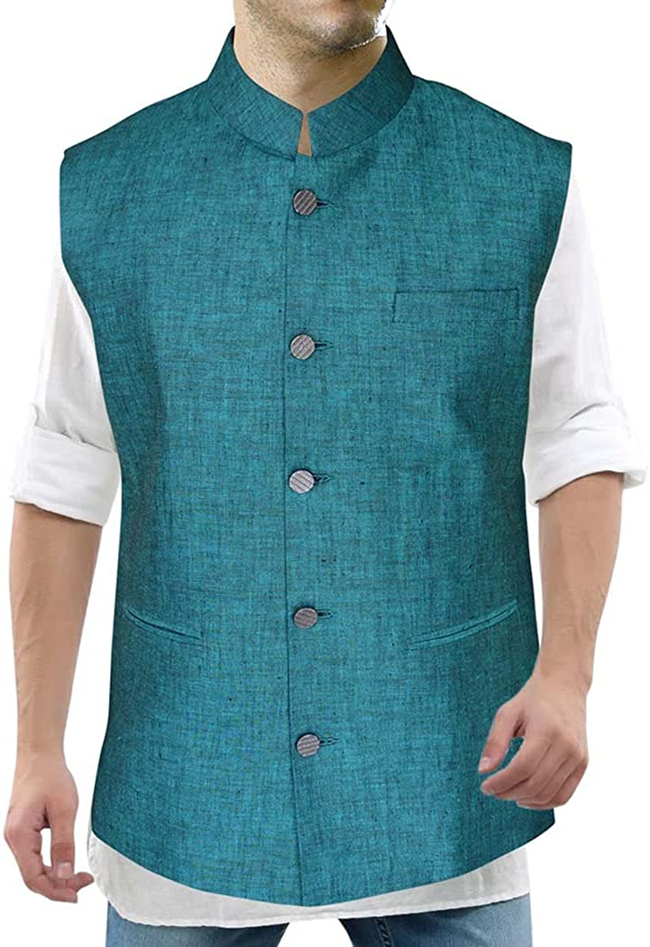 INMONARCH Modi Jacket for Men Teal Nehru Vest Five Button Partywear NV16