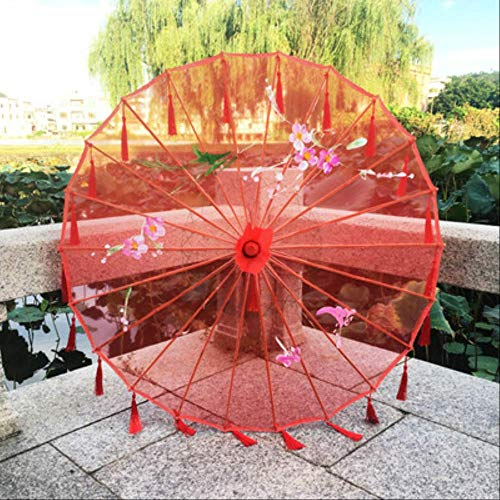 Chinesische Seide Regenschirm Anime Lady Fotografie Cos Requisiten Antike Tanz Quaste Regenschirm Transparent Hochzeit Sonnenschirm 82 cm Red Poney B