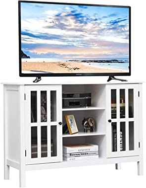 """Tangkula Wood TV Stand, Classic Design Storage Console Free Standing Cabinet for TV up to 45"""", TV Cabinet Media Center Home L"""