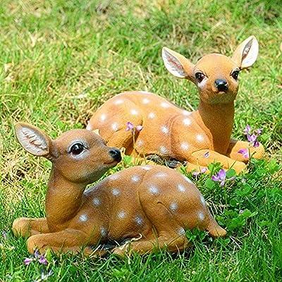 ????????????????????????????????????? ????????????????? Garden Deer Statues, 2Pcs Sika Sitting Deer Statue Sculpture Animal Model Art Craft Outdoor Garden Decoration, Spring Ornaments for Yard Lawn Decor