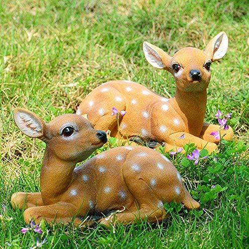 【 】 Garden Deer Statues, 2Pcs Sika Sitting Deer Statue Sculpture Animal Model Art Craft Outdoor Garden Decoration, Spring Ornaments for Yard Lawn Decor
