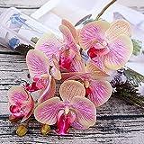 GRANDLIN 3 Piezas de Mariposas Artificiales de imitación de orquídea de Aspecto Real para decoración del hogar para Bricolaje Ramos de Boda, centros de Mesa de Novia y Fiesta, Rosa Claro, 3 Piezas