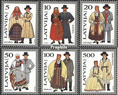 Lettonie mer.-no.: 351-356 (complète.Edition.) 1993 Costumes (Timbres pour Les collectionneurs) Uniformes / Costumes