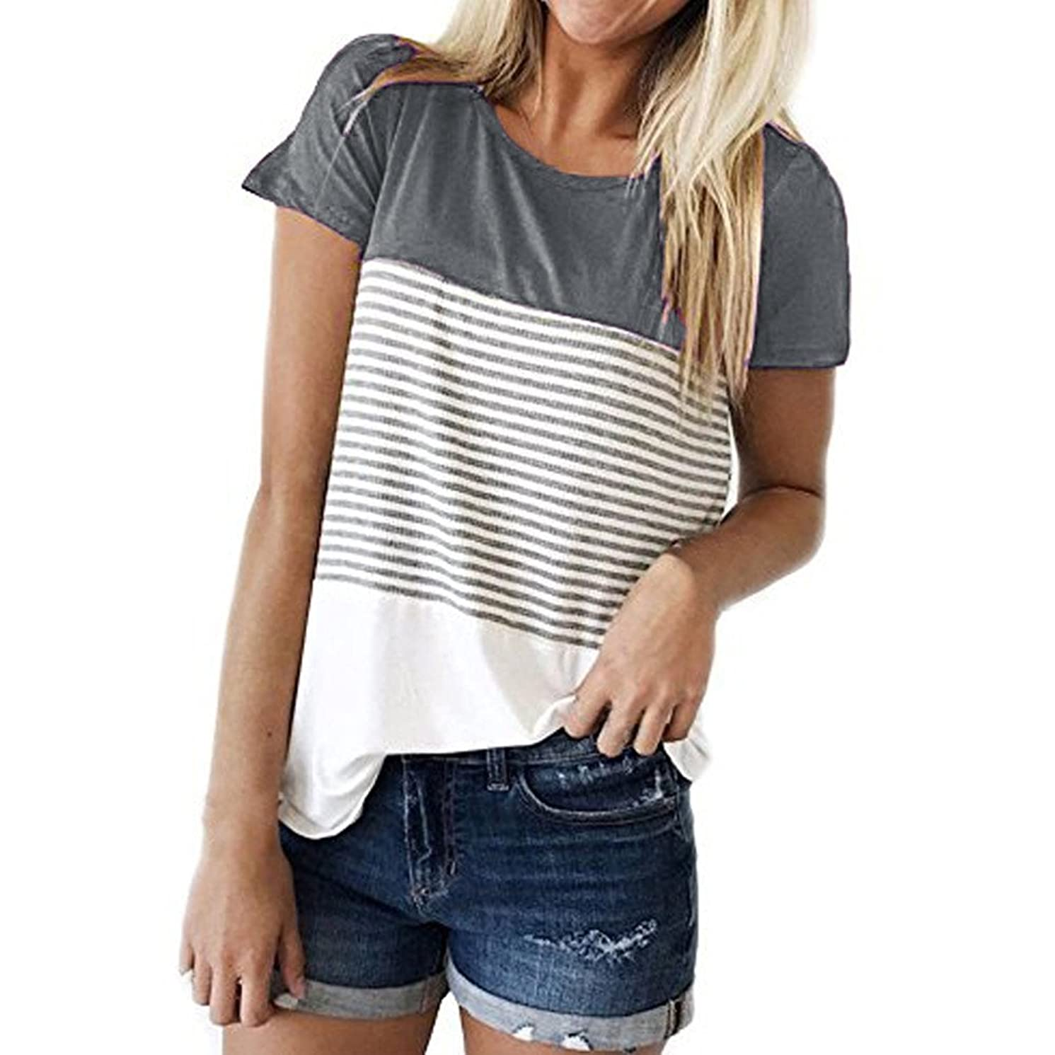 Women Tops Shirts Plus Size Casual Stitching Striped Short Sleeve Blouse Tunic Teen Girls Pullover Tops