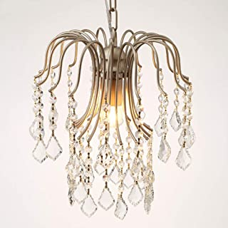 KUVV Perfect European Corridor Vintage Antique Entrance Chandelier Stairs American Pendant Crystal Light Aisle Balcony Living Room Bedroom Restaurant Ceiling Light Champagne Gold