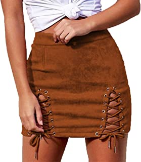 Women Sexy Winter High Waist Lace Up Tight Bodycon Faux Suede Short Pencil Mini Skirt