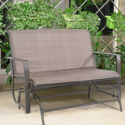 Cloud Mountain Patio Glider Bench Outdoor 2 Person Swing Loveseat Rocking Seating Patio Swing Rocker Lounge Glider Chair, Tan