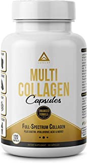 Multi Collagen Capsules: Extra Strength Fortified Formula + Absorption Enhancer + Types I, II, III, V & X, Advanced Proprietary Blend: Joints, Hair, Skin, Nails, Gut, Keto Diet Approved (120 Capsules)
