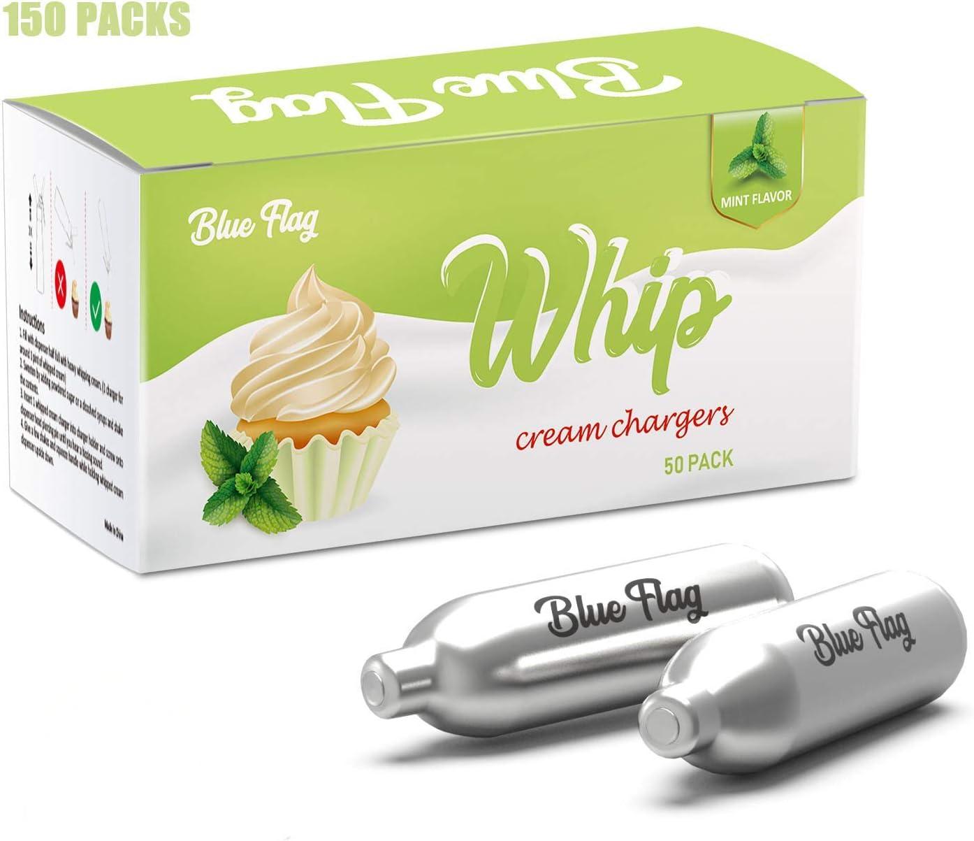 BLUE FLAG Mint Flavor 8 Gram Whipped Cream Charger Nitrous Oxide Cartridges for Whipped Cream Dispenser 150 Pack