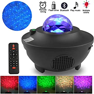 Night Light Projector, Ocean Wave Nebula Starry Projector with Bluetooth Music Speaker, Dynamic Projections, Voice Control&Control Timer, for Kids Adults Bedroom Decoration Birthday Ambiance Party