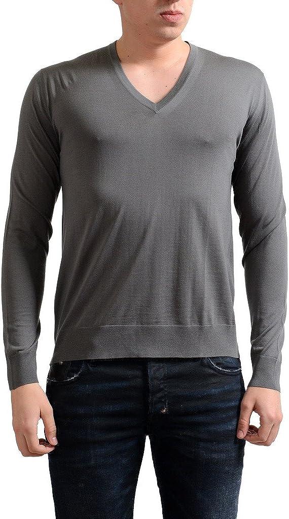 Prada Men's 100% Wool Max 82% OFF V-Neck Gray Pullover Sweater Bombing new work