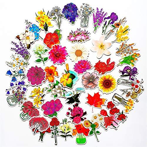 Stickers (50Pcs) Flowers Rose Tulip Lily Jasmine Daisy Lavender Sakura Oriental Cherry Vase Leaf for Water Bottle Laptop Phone Refrigerator Skateboard Luggage Filofax Lifelog for Kid Adult Stickers