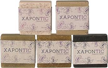 Xapontic - Set de 5 jabones artesanales de 125gr - Selección de aromas: Menta, miel y avena, coco y vainilla, romero y café.
