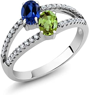 Build Your Own Ring - Personalized 2 Birthstones Ring in Rhodium Plated 925 Sterling Silver (Available in size 5,6,7,8,9)