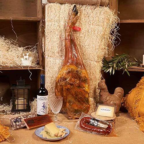 Cesta de Navidad, Paleta Bellota, Vino Tinto Adhuc Tempus, Chorizo de León Ahumado Picante, Queso Oveja Curado Cuña y Caja Regalo Paleta - LOTE PALETA 520-9 Bellota