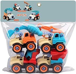Coxeer 4PCS Take Apart Toy Novelty Construction Vehicles Toy Assembly Car Toy with Screwdriver