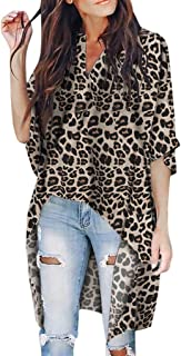 Women Irregular Half Sleeve T-shirt Tops ❀ Ladies V-Neck Fashion Leopard Print Tee Shirt Blouse Tunic Tops