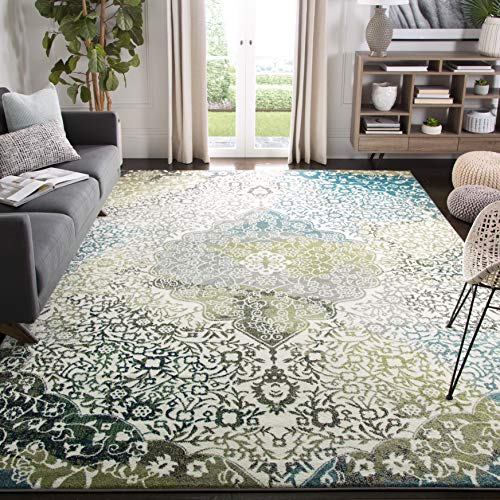 Safavieh Watercolor Collection Ivory and Peacock Blue Area Rug, 9' x 12'