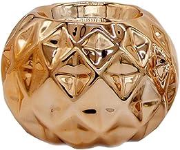 Fenteer Ceramic Candle Holder Jar European Style Home Wedding Desktop - Rose Gold, 7.5x5.2cm