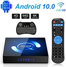 QPLOVE Android 10.0 TV Box 4GB 64GB H616 Quad Core 2.4G/5G WiFi Bluetooth 5.0 H.265 3D 6K Ultra HD Smart TV Box Con Mini Wireless Backlit Keyboard