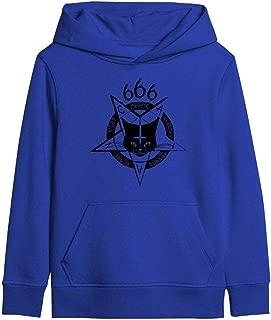 Satanic Cat Design 666 Goth Black Kids Boys Girls College Hoodies Kangaroo Pocket Double-Lined Hood