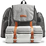 VonShef Ash 4 Person Picnic Backpack Bag With Blanket & 29 Piece Dining Set – Premium Woven Grey Finish & Leather-style Detailing, Cooler Compartment & Extra Side Pockets