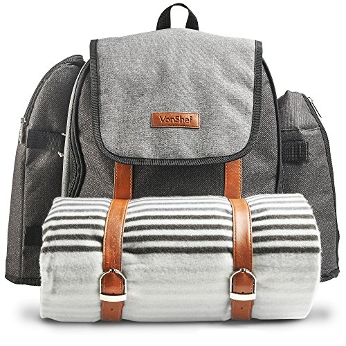 VonShef Picnic Backpack for 4 Person Outdoor Bag with Blanket Woven Grey Waterproof Finish, Includes 29 Piece Dining Cutlery Set & Insulated Cooler Bag Compartment to Keep Food Chilled