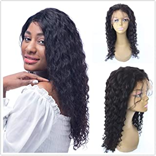 JYL Hair 360 Lace Frontal Wig Pre Plucked Hairline Curly Brazilian Virgin Hair Human Hair Lace Wigs Glueless 150% Density Bleached Knots (18'' 150% natural color, Curly)