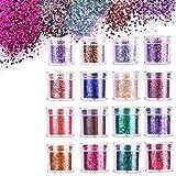 Ulikey 16 Cajas Purpurinas Polvo, Purpurina para Cara Cuerpo Maquillaje Pelo Rostro Uñas Mejilla, Glitter Flakes Paillette para Rostro, Brillante Decoración para Pelo