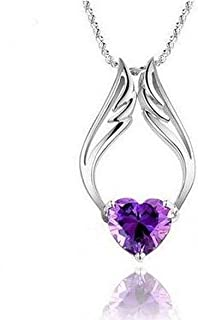 Fashion White Rhodium Plated Heart Purple Synthetic Stone Angel Wings Pendant with Free 18