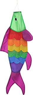 40-inch Rainbow Fish Windsock with Green Head (3.3 feet) -- Includes hanging clip.