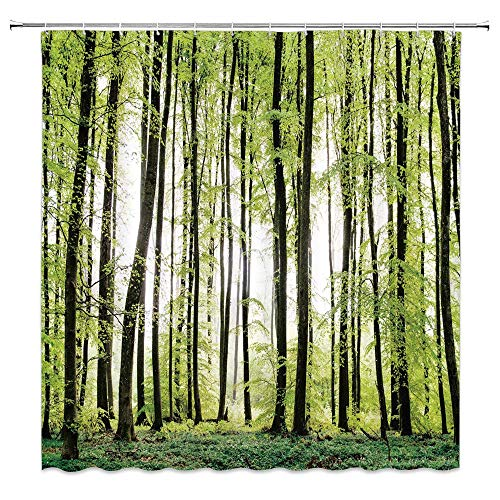 Leaves Shower Curtain Decor Leaves Garden Organic Foliage Shrubs Plant Image Nature Fabric Bath Curtains Bathroom Accessories Waterproof Polyester with Plastic Hooks