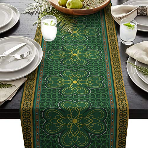 Cotton Linen Table Runner Rectangle Plate Mat Outdoor Rug Runner for Coffee Dining Banquet Home Decor, St. Patrick's day Theme Retro Celtic Knots Lucky Clover Design Irish Decor Print, 16 x 72 inch