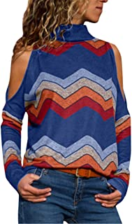 Women Blouses, Teens Colorful Geometric Wavy Stripe Print Long Sleeve Round Collar Cold Shoulder T-Shirt Top