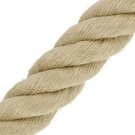1m 8mm JUTESEIL Naturfasern gedreht Tauwerk Hanf Jute Tau Seil Tauziehen Absperrseil Handlauf