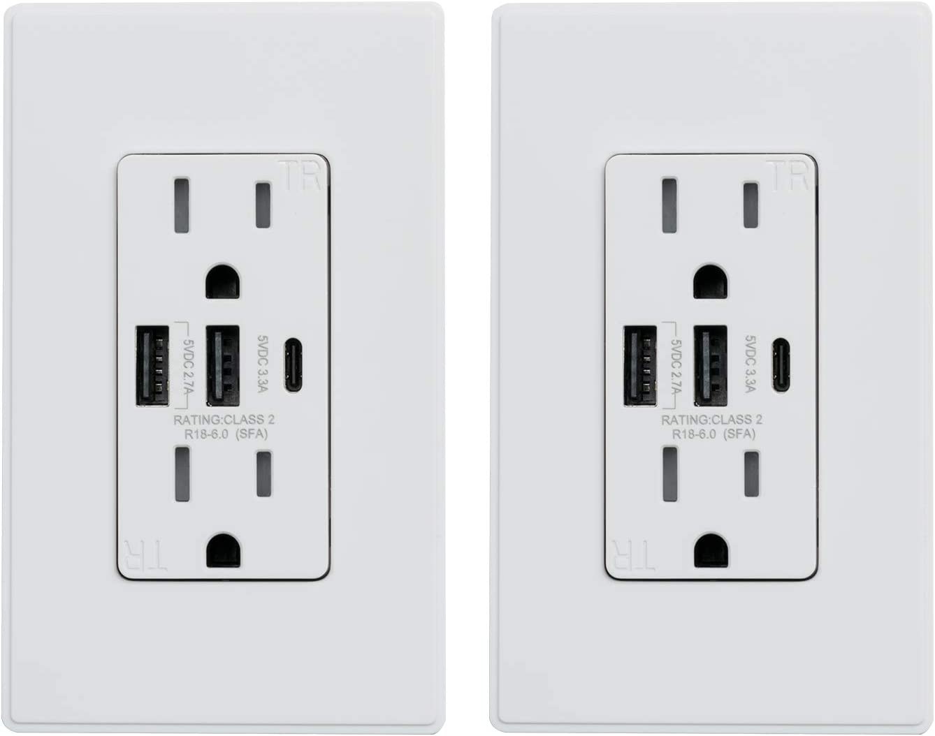 ELEGRP 30W Max 73% OFF 6.0 Amp Limited time sale 3-Port USB Receptacle Wall 15 wit Outlet
