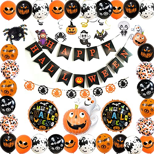 Halloween Globos Set, Happy Halloween Banner Decoraciones, Globo de Látex, Fiesta Festival Decoración, adecuado para Halloween Theme Fondo de Fiesta en el Aula Decoración
