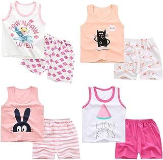 XM-Amigo 8 Paquetes e Chalecos sin Mangas para niñas Camisetas sin Mangas Camisetas sin Mangas Pantalones Cortos Conjuntos...