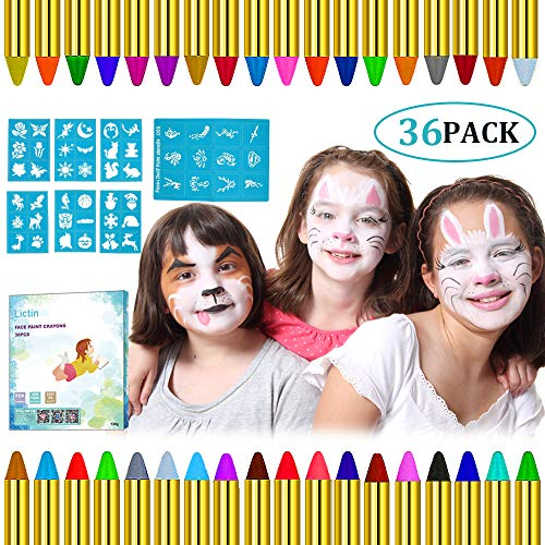 Lictin Pintura de Cara para Niños- 36 Colores Pintura Facial y 48...